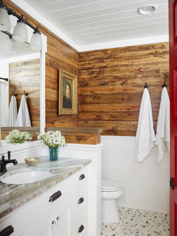 卫生间水平再生木墙