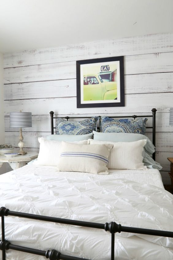 white washed reclaimed wood feature wall