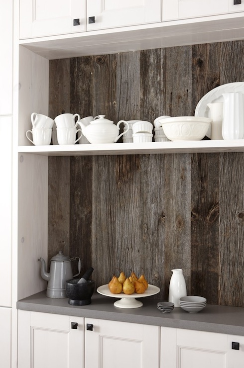 old barn boards used as feature wall in kitchen