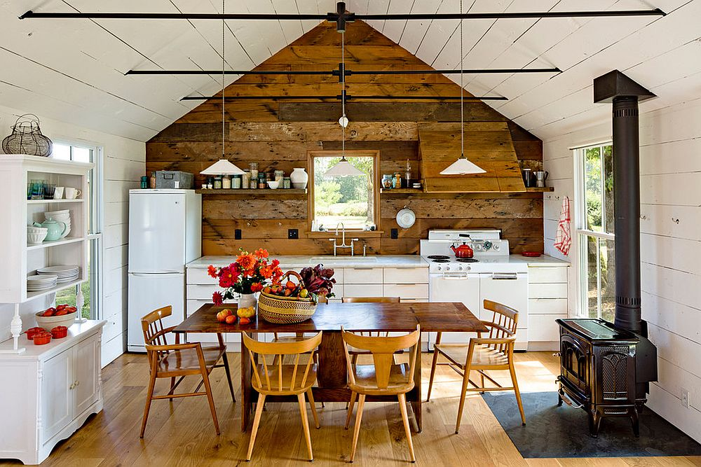 salvaged barn boards used in kitchen for feature wall and backsplash
