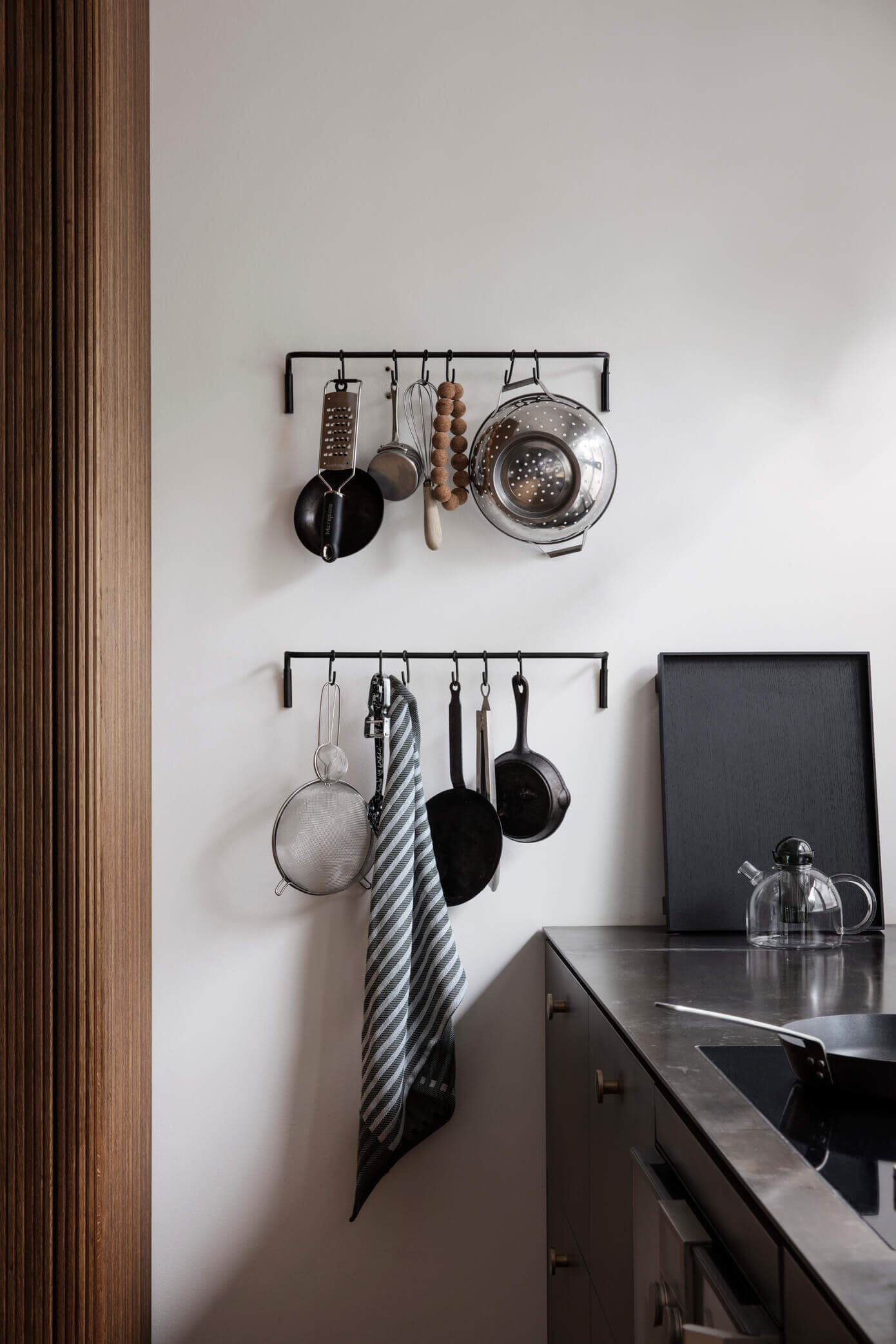 collectible pots and pans - how to display them minimally on the wall