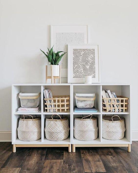 cubby bookshelf styling