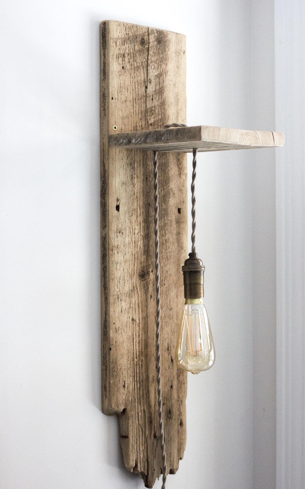 自制复古谷仓板灯烛台