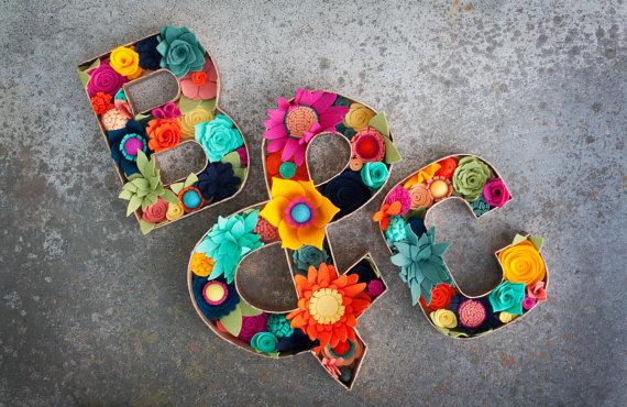 "Felt Floral Letters - ""Farmers Market"" - Felt Flower and Succulent filled Letters"