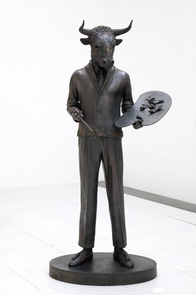Minotaur, 2016, fiberglass, bronze patina, 198 x 97 x 70 cm