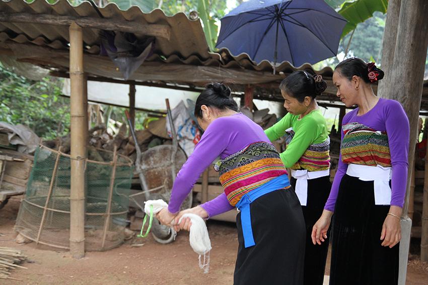White Thai Women dye fabric at their home