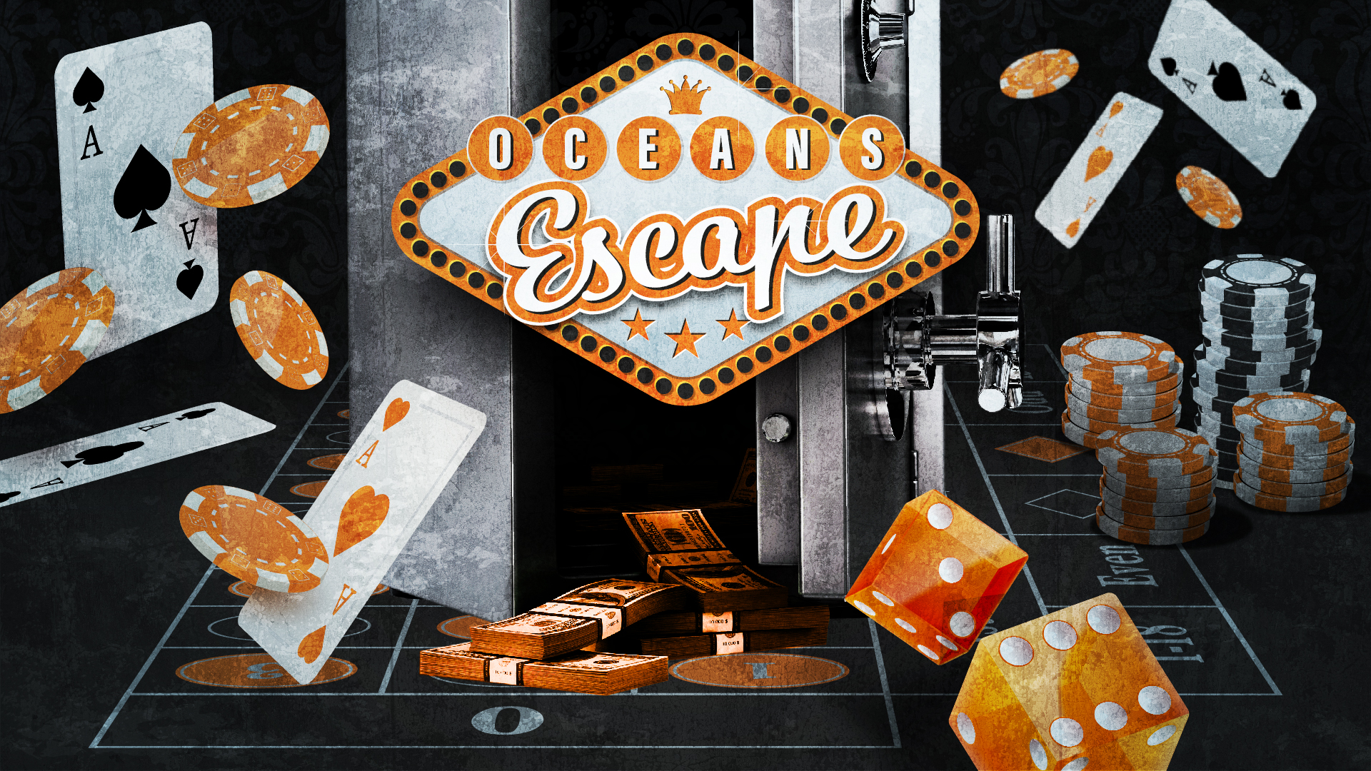 Ocean's Escape - AVAILABLE AT HAYMARKET:A crack team of thieves attempt to rob a casino after-hours. Players must work together to steal the gold from the casino safe and find an inconspicuous method of escape...but there's a twist! During the heist, players may come across other valuable items: poker chips; cash; and high-value data. They may choose to bank these items for the good of the group - or stash them away for themselves.