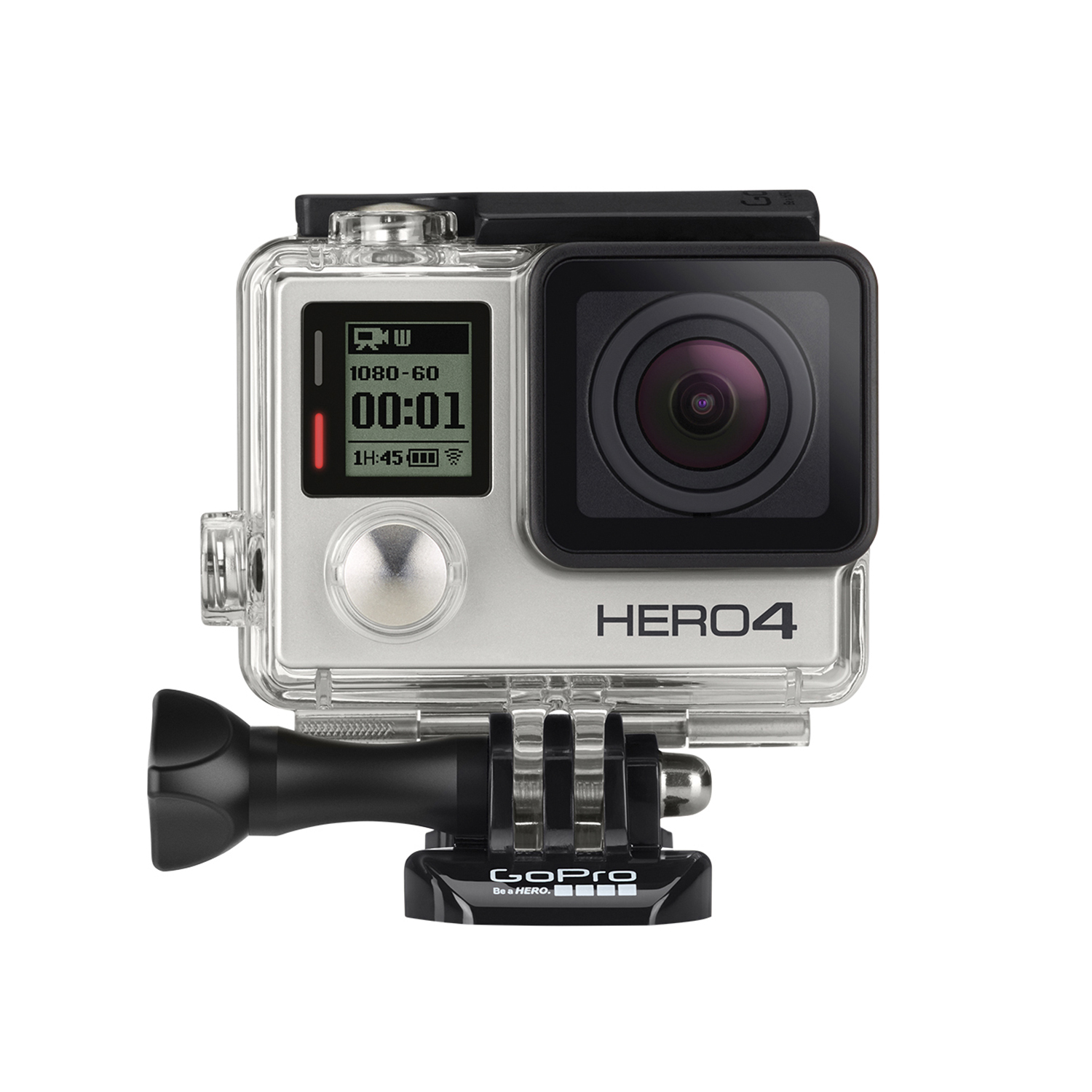 GoPro Hero4 Silver:   Pro-quality capture with Touch-display    The updated user interface of the GoPro Hero4 Silver offers improved discoverability and access to key camera controls, and 50-percent faster wifi combined with Bluetooth technology delivers enhanced GoPro App performance and improved power management. Night photo and night lapse allow you to capture stunning images of ultra low-light scenes with customizable exposure settings of up to 30 seconds, and Protune mode for custom color, sharpness, ISO limit and exposure controls for both photo and video capture. The GoPro Hero4 Silver is waterproof to 131 feet, and features a touch display. High resolution, high frame rate, exceptionally smooth slow-motion video playback and cinema-quality capture round out this camera.  MSRP $499    www.gopro.com