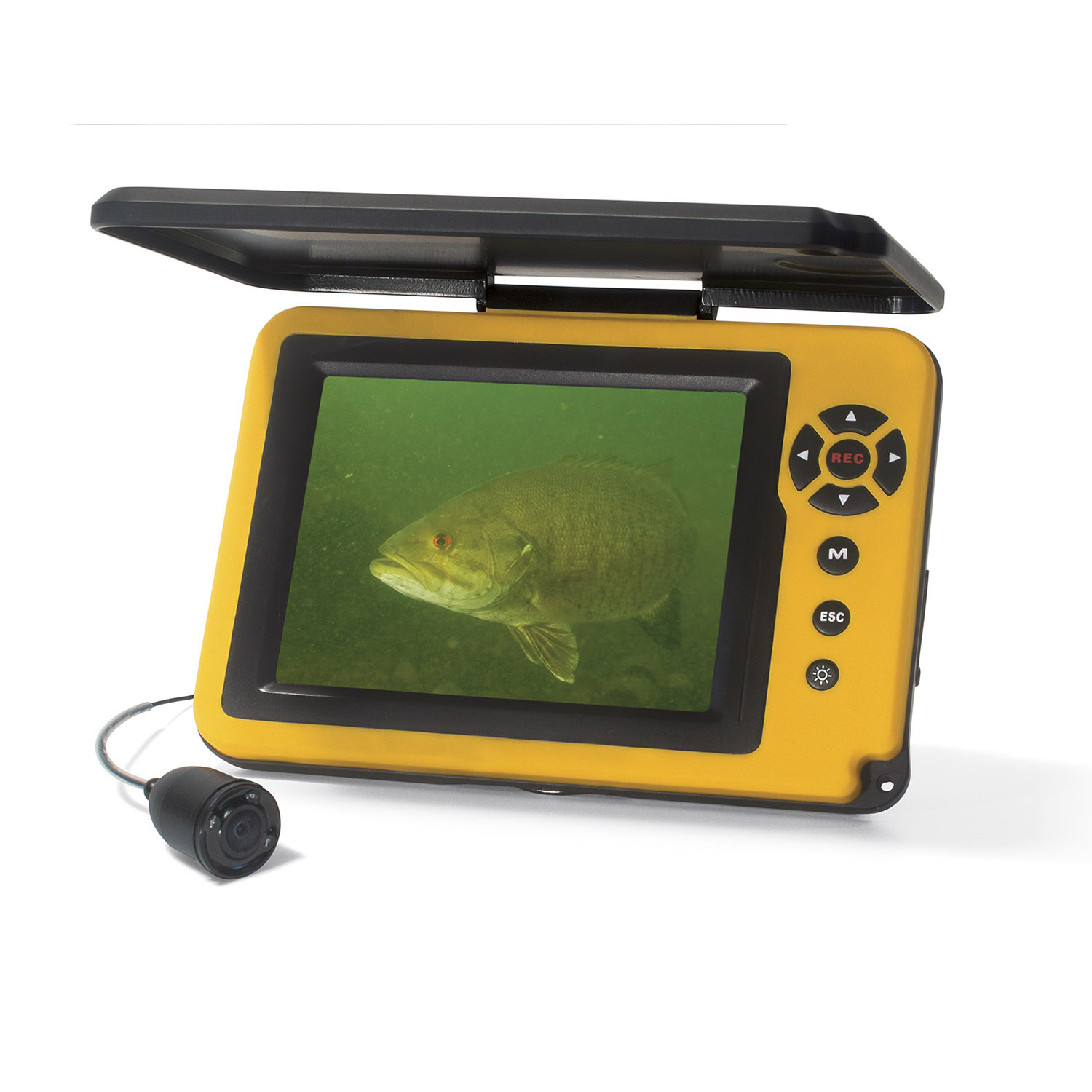 Aqua-Vu: Micro 5 plus DVR:  Underwater Viewing System    The 3.5-inch LCD screen displays colorful underwater scenery with sharp resolution and dazzling brightness. The 3X digital zoom lets you examine fish and cover up close, while the infrared lighting system illuminates deep and dark water. The Aqua-Vu: Micro 5 is powered by a tiny yet potent rechargeable lithium-ion battery that operates for up to seven hours. The waterproof case is rated IP67, and includes a sunshield screen protector.    Other features include a DVR with an 8GB internal SD card, a USB port for video out and a 100-foot cable.   MSRP: $599    www.aquavu.com