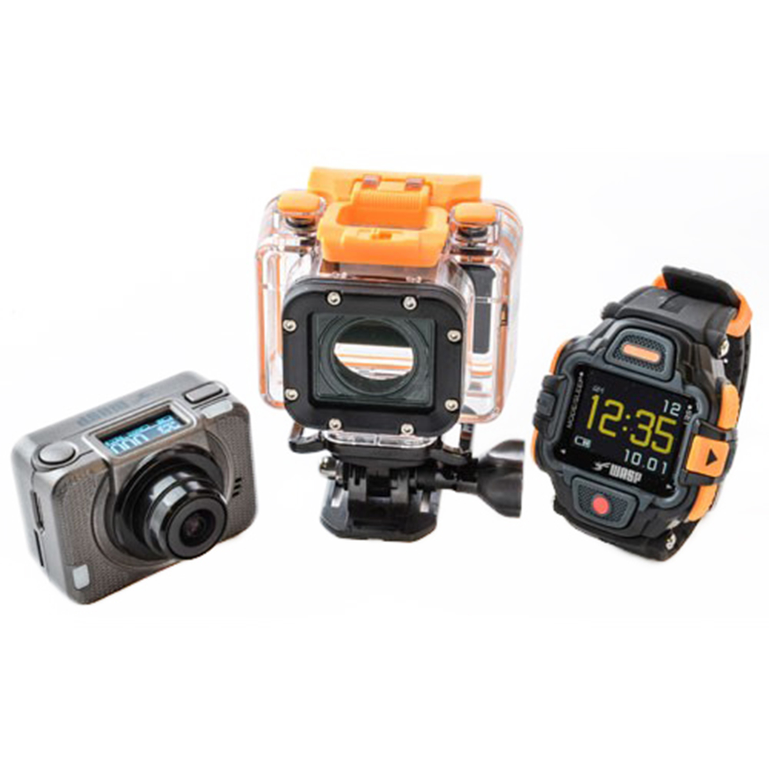 WASP 9902 GIDEON:Trail and underwater viewing system   The WASP 9902 Gideon records high-def video at 1080p60, 1080p30, 960p60, and 720p120, and has an auto-looping function so that video records over itself—perfect for continuous video recording. The camera includes a wireless wrist remote, which connects to the camera up to 15 feet away, while built-in wifi connects the camera to your smartphone for live viewing, remote control and instant sharing online. Up to 16 megapixels. Camera (when installed in waterproof casing) and remote are waterproof to 196 feet. Several accessories are included with this camera.  MRSP: $319    www.waspcam.com