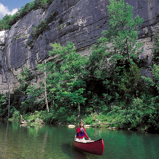 An  Arkansas Wild  favorite, canoeing and enjoying the majestic cliffs along the Buffalo River.