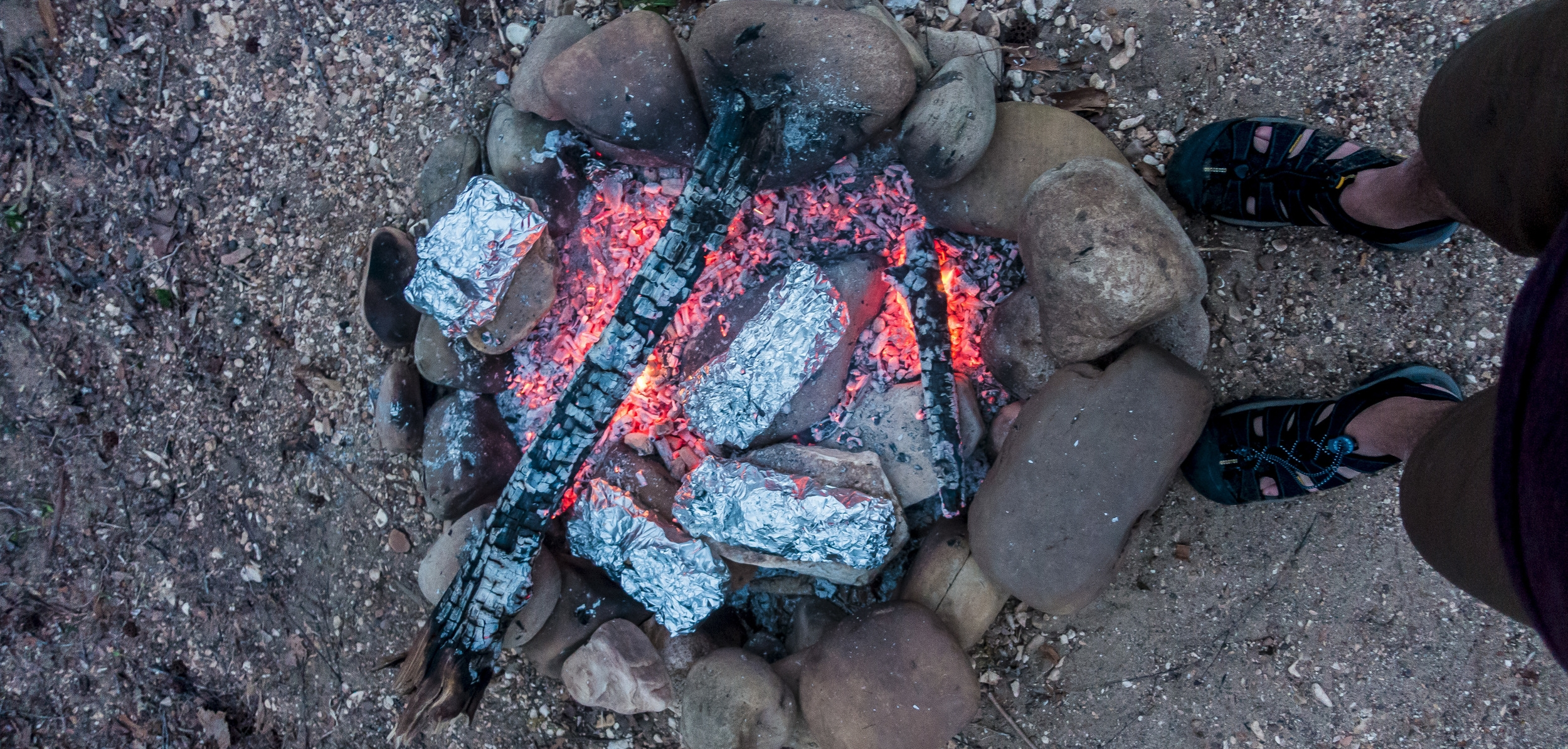 At the end of a day of hiking, making a hobo meal is as easy as building a fire and combining ingredients. Photo by Dustin Jones