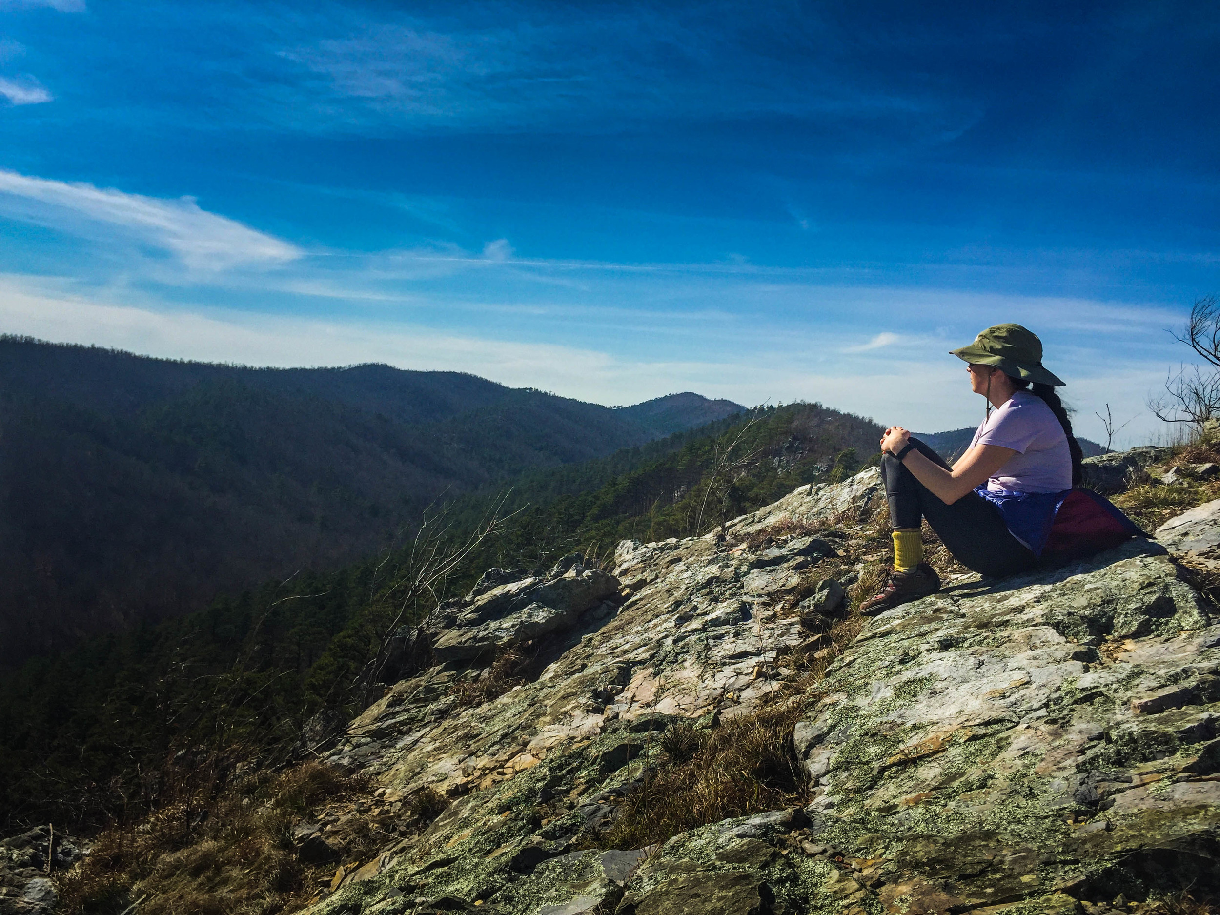 Eagle Rock Loop Trail offers unspoiled views of the green Ouachita hills.