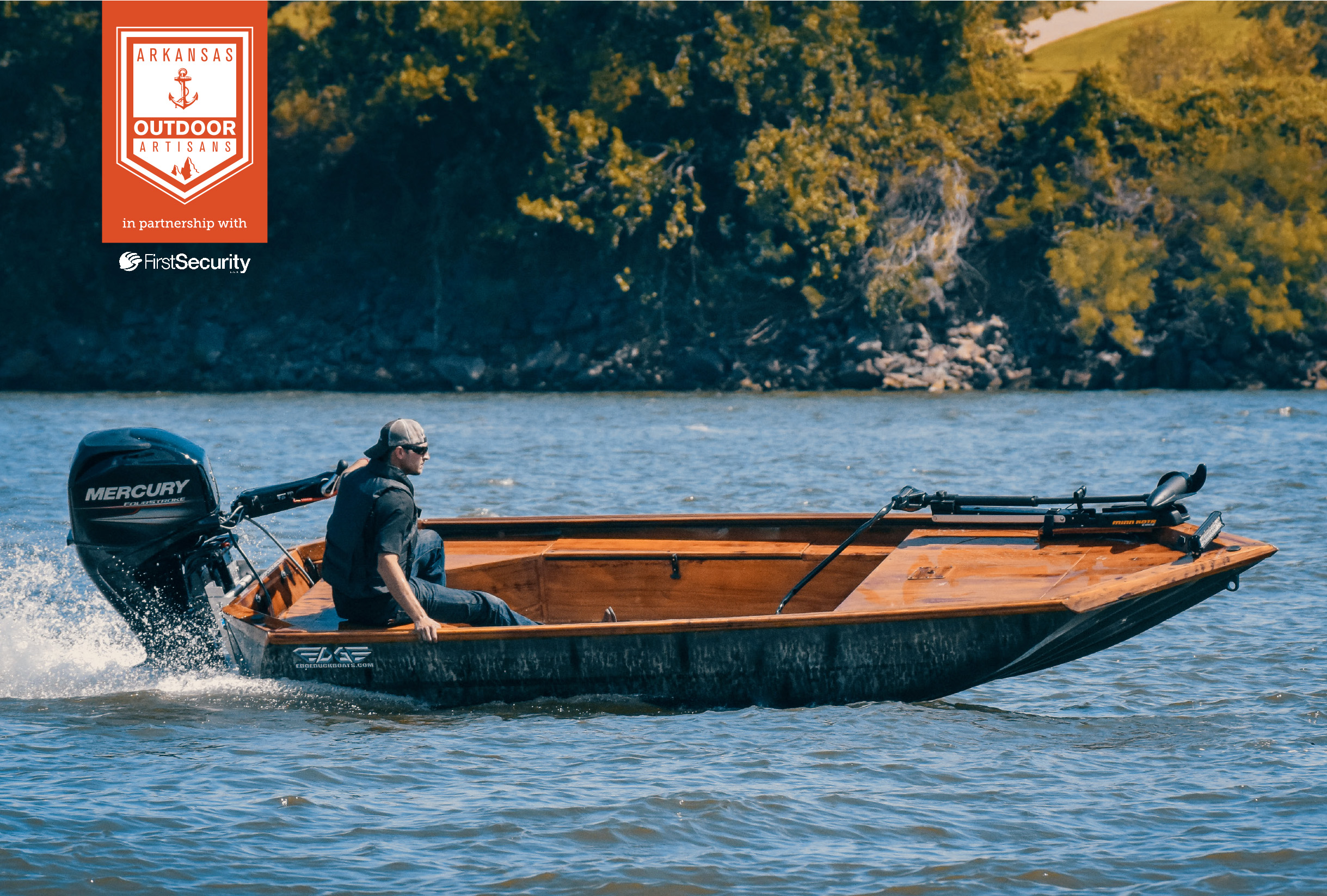 An Edge duck boat from Waco Manufacturing speeds down the Arkansas River. Each handmade boat can be customized in a number of ways, such as this model's custom-painted interior, designed to mimic an intricate and detailed wood grain pattern.