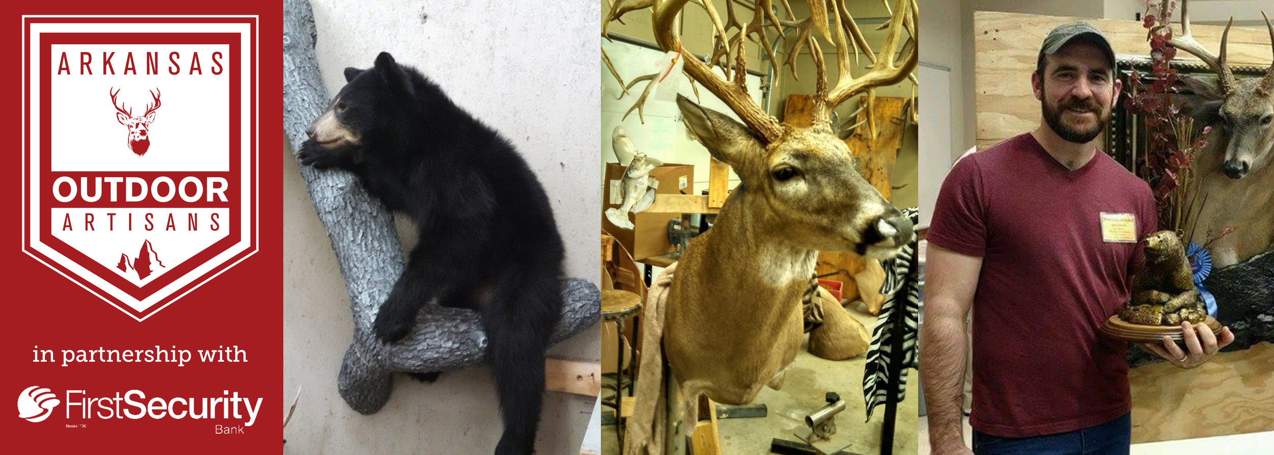 Advanced Taxidermy specializes in common mammals like bear (left) and deer (middle).Brandon Mitchell brought his taxidermy expertise from Indiana to Van Buren (right).