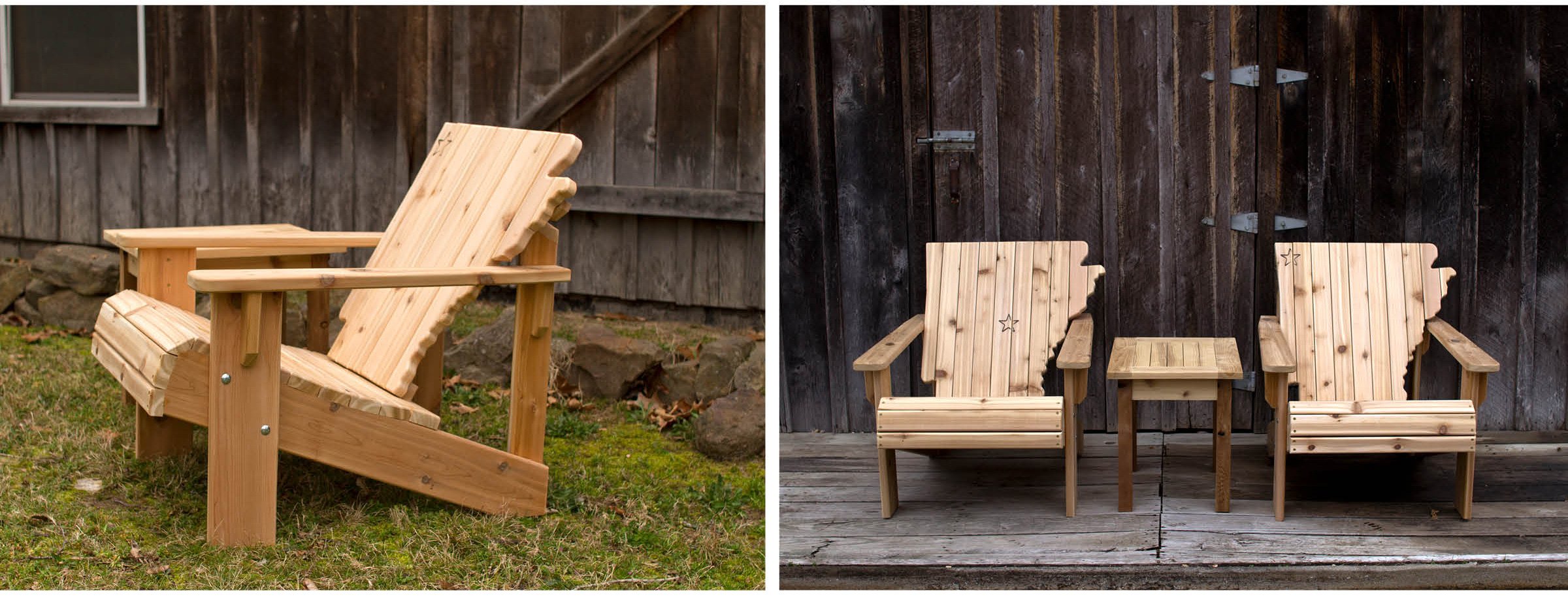 His Adirondack-style chairs feature a Natural State-shaped backrest. Timbernak's finished Adirondack-style chairs are a study in craftsmanship both from the side (left) and from the front. Note the stars carved in for both Little Rock and Bentonville (right).