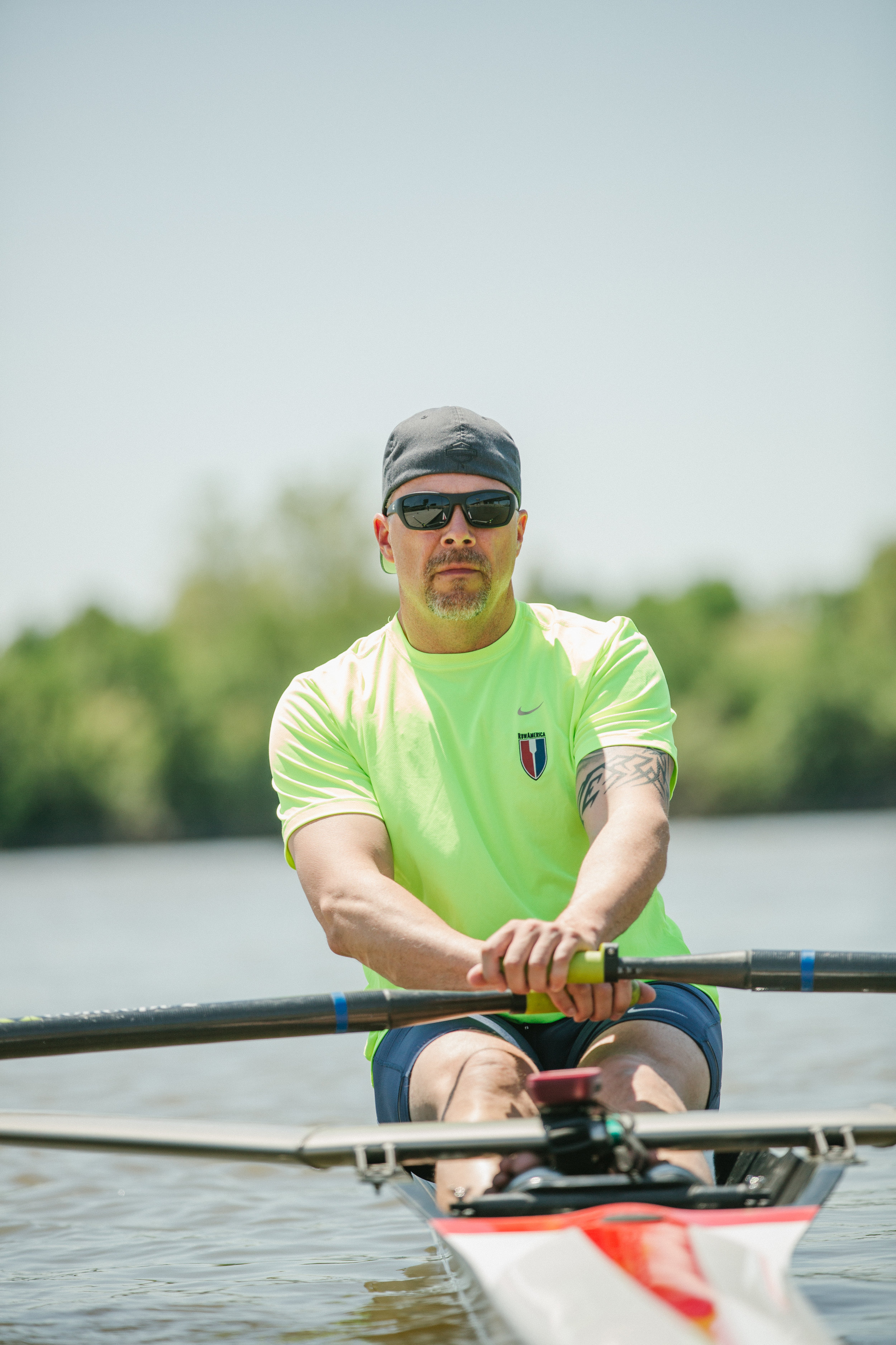 Ted Riedeburg, the director and head coach of Rock City Rowing, gets settled in for a little rowing practice.