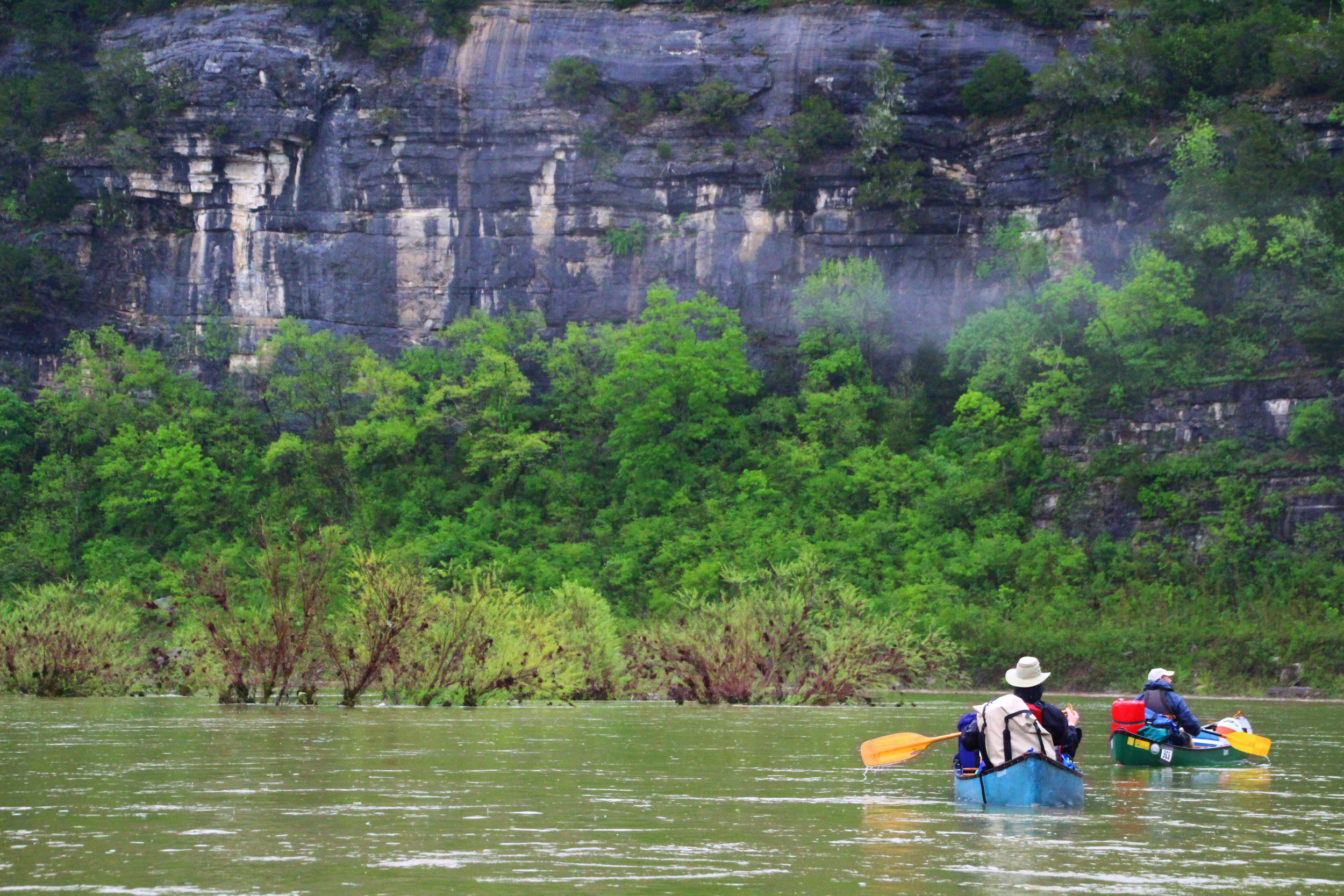 Bill Steelman (back) and Grant Nally (front) enjoying an up-close look at one of the many bluff walls bordering the Buffalo River.