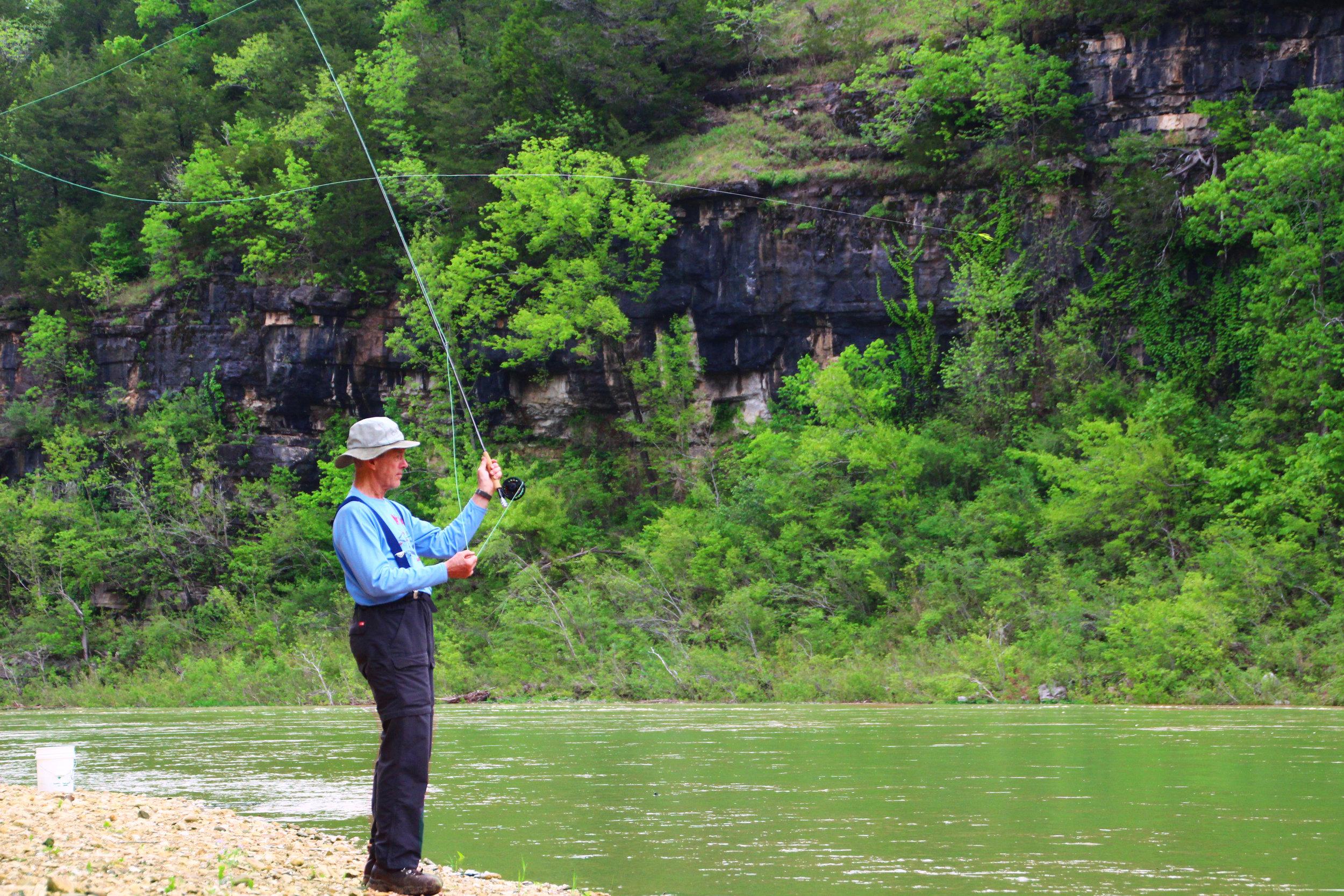 Bill Steward casting a line in the Buffalo River.