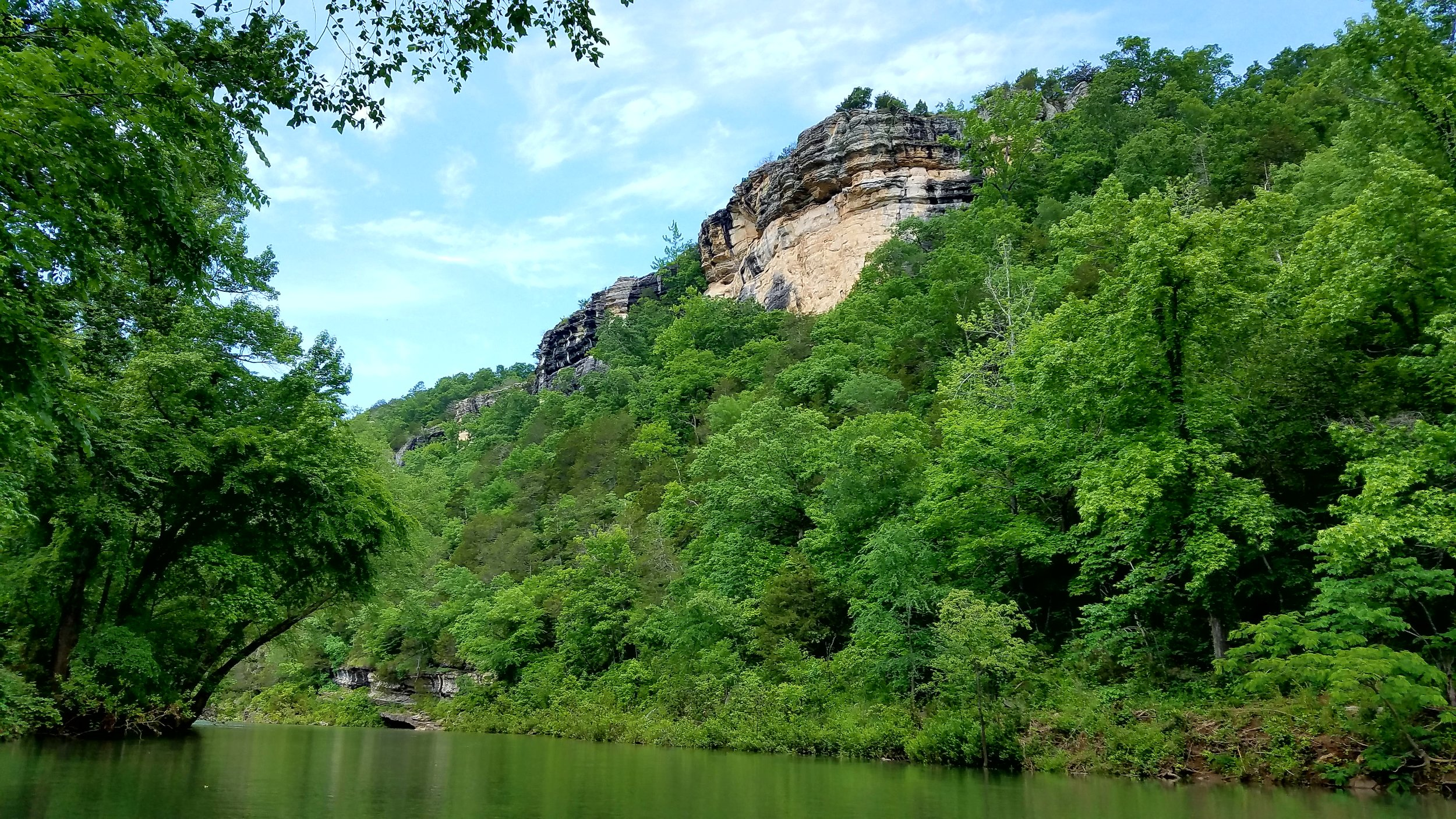 Some of the rock bluffs on the Buffalo River are over 400 feet high.