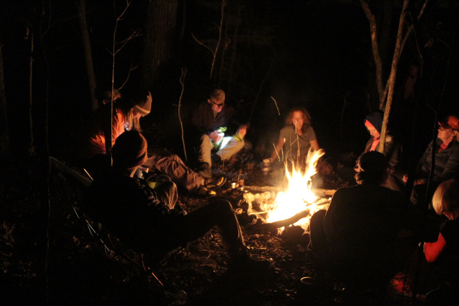Dinner, adult beverages and conversation in the glow of a welcome campfire ends day one.