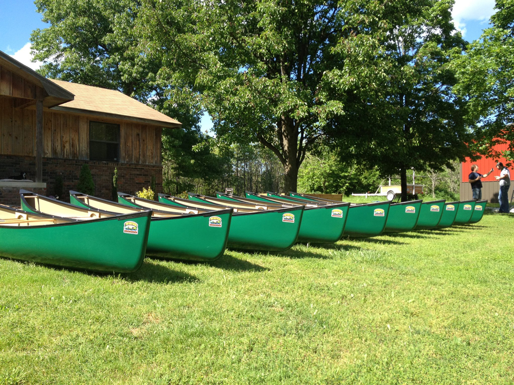Two Brothers canoes await their next watery adventure. The boat manufacturer is based in Rogers.