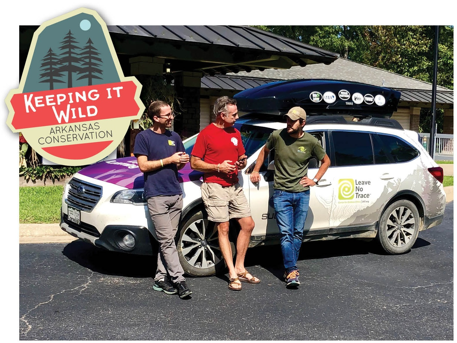 The author (center) chats up Joe Besl (left) and Joe Creaghead, Leave No Trace Subaru Travelling Trainers prior to the Cossatot clean-up.