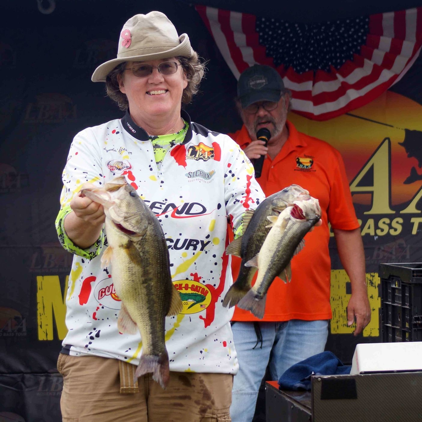 Lynda Gessner shows off some prize-winning fish at a recent LBAA event. - Photo Courtesy of: LBAA