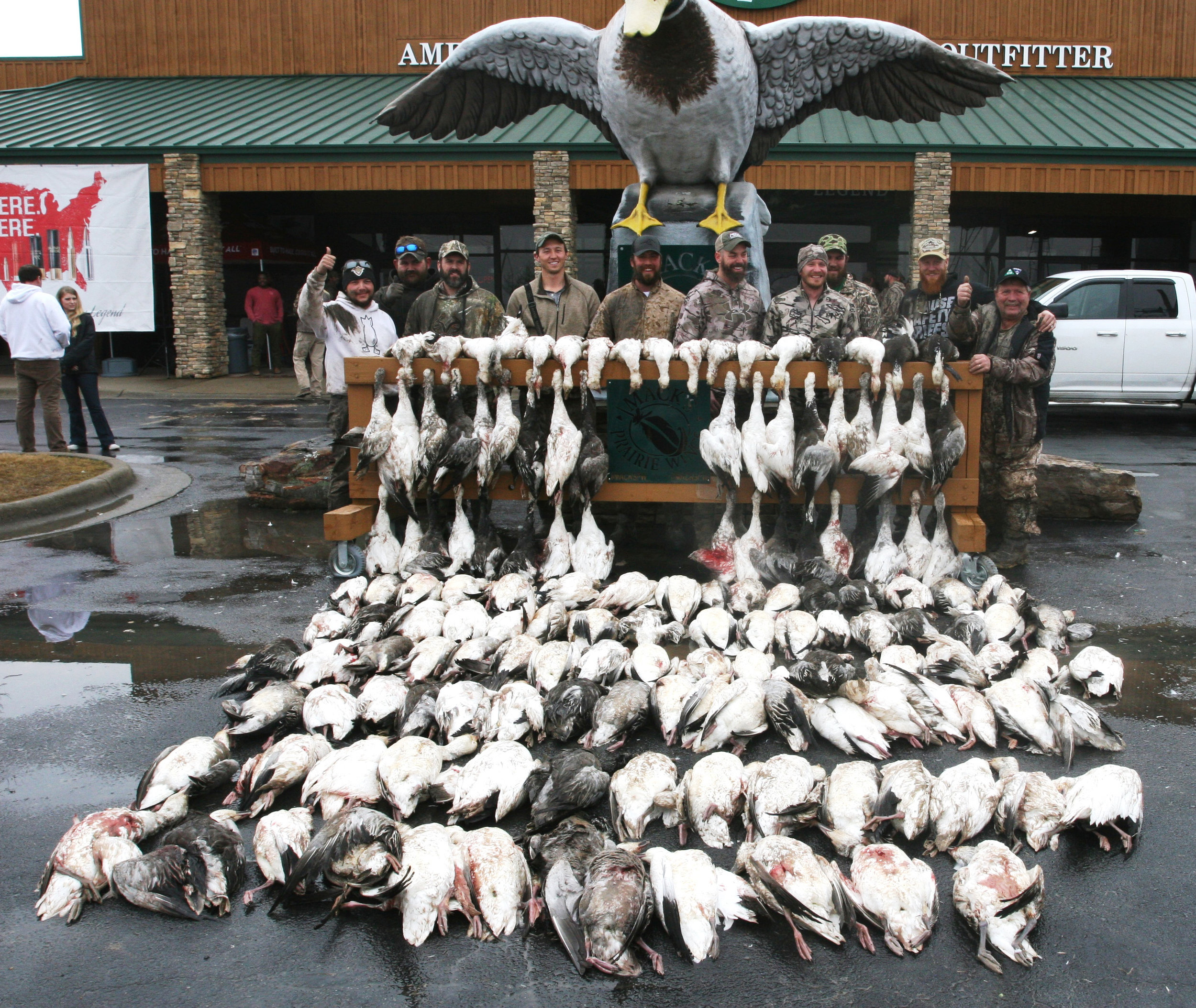 Hunters display their take of snow geese during a recent winter hunt in Stuttgart benefiting Arkansas Hunters Feeding the Hungry.