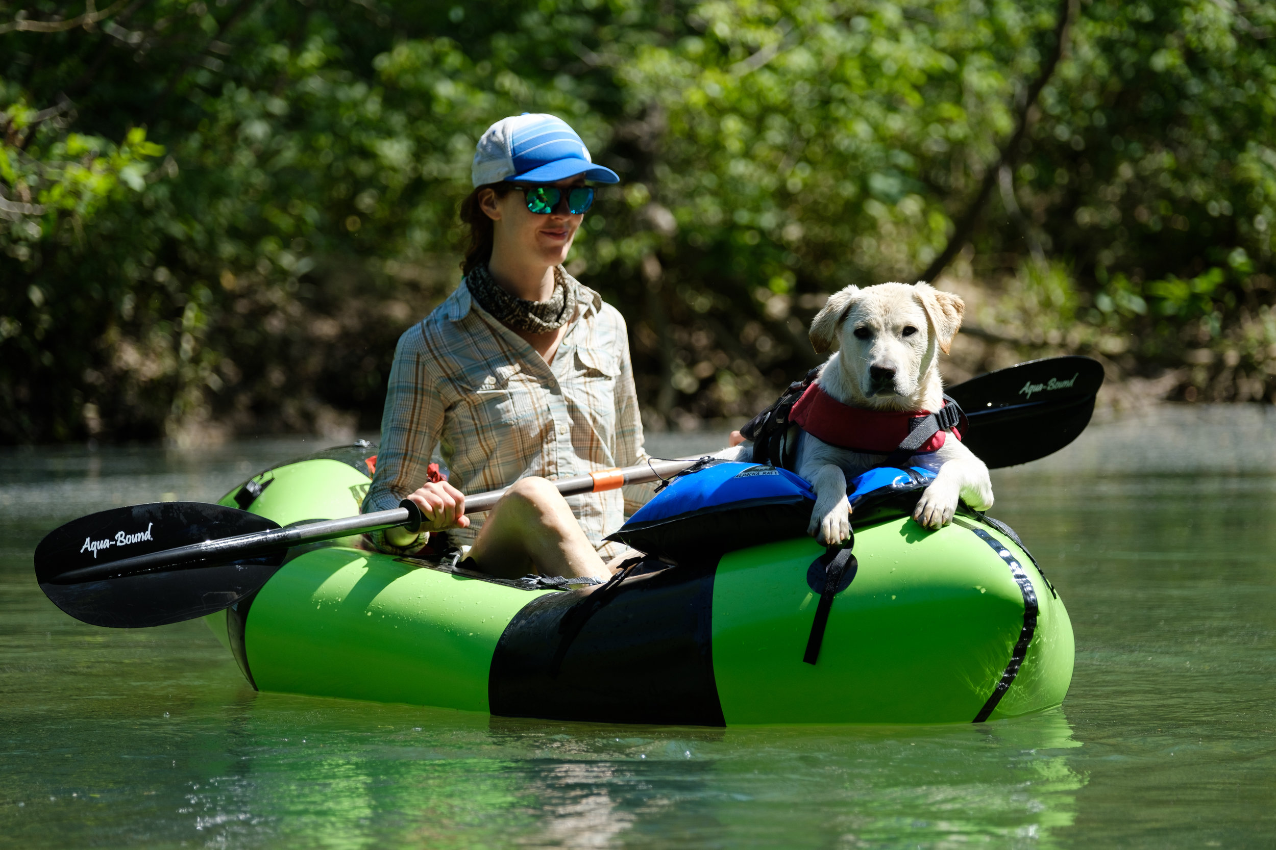 Claire Cripps and her Lab, Ernie, cruise along the Buffalo River.