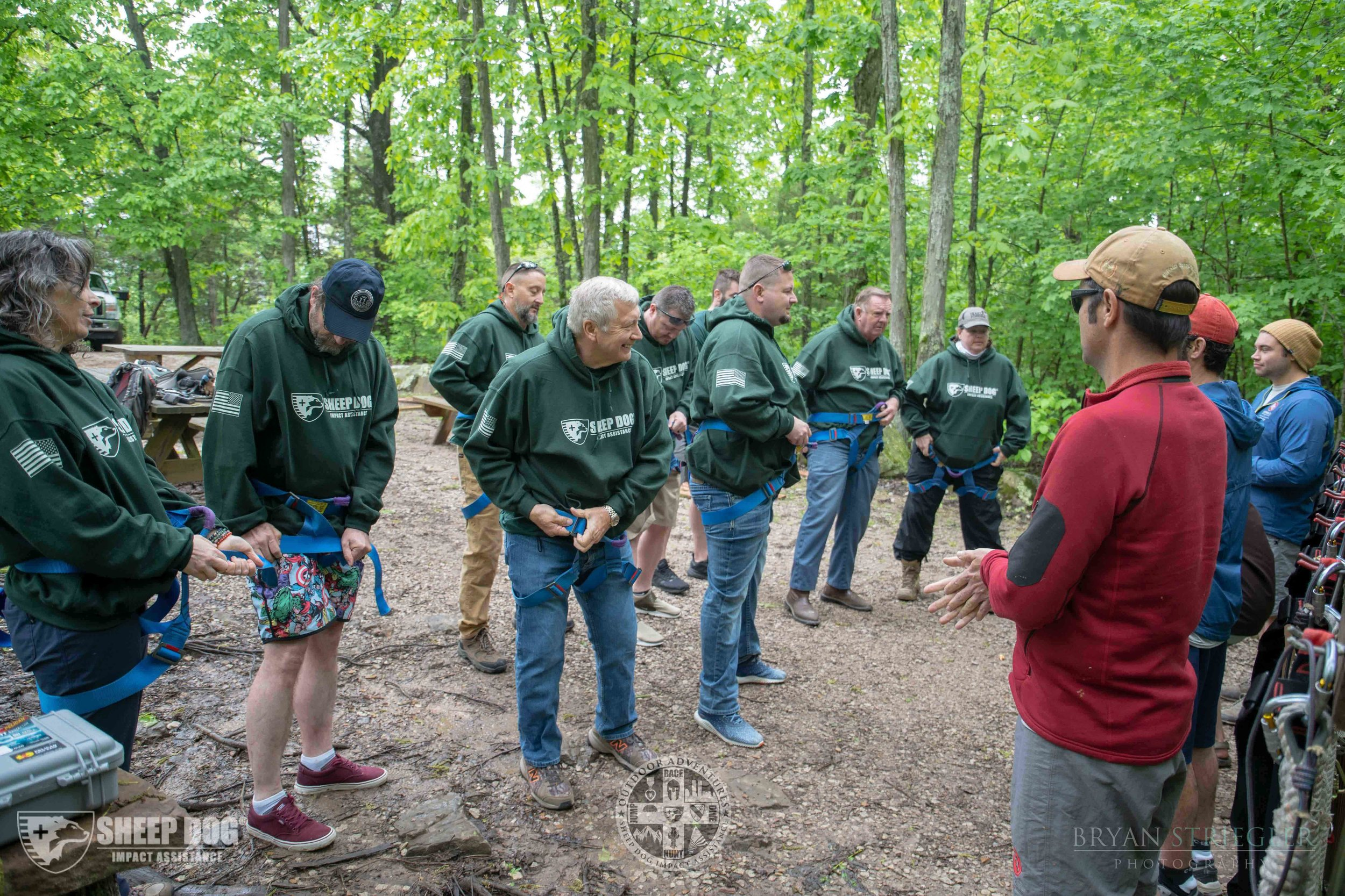 Sheep Dog group gears up for a forest adventure. The group holds 24 adventure events annually. - Photos courtesy of Sheep Dog Impact Assistance