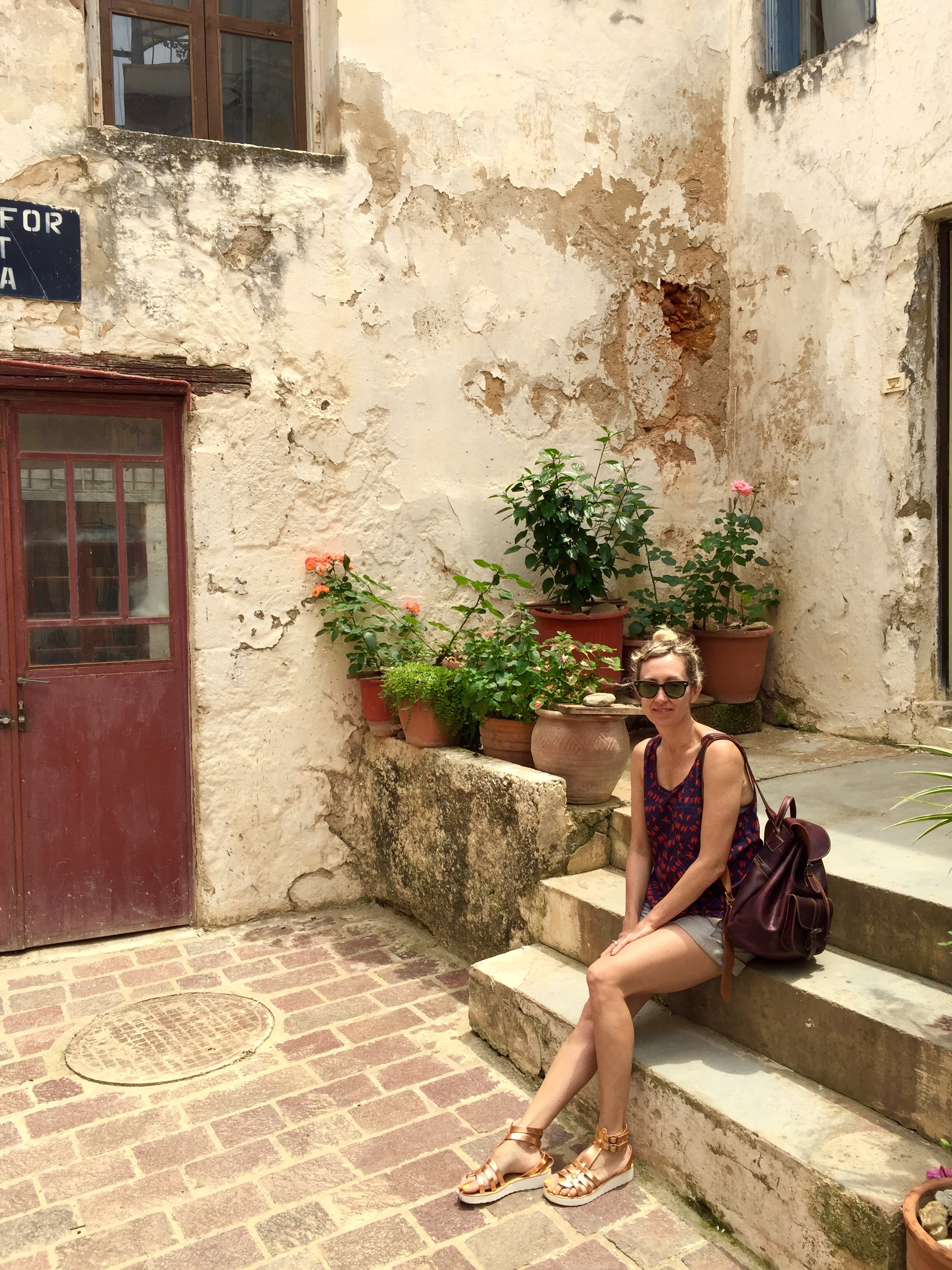In the cobble stone streets