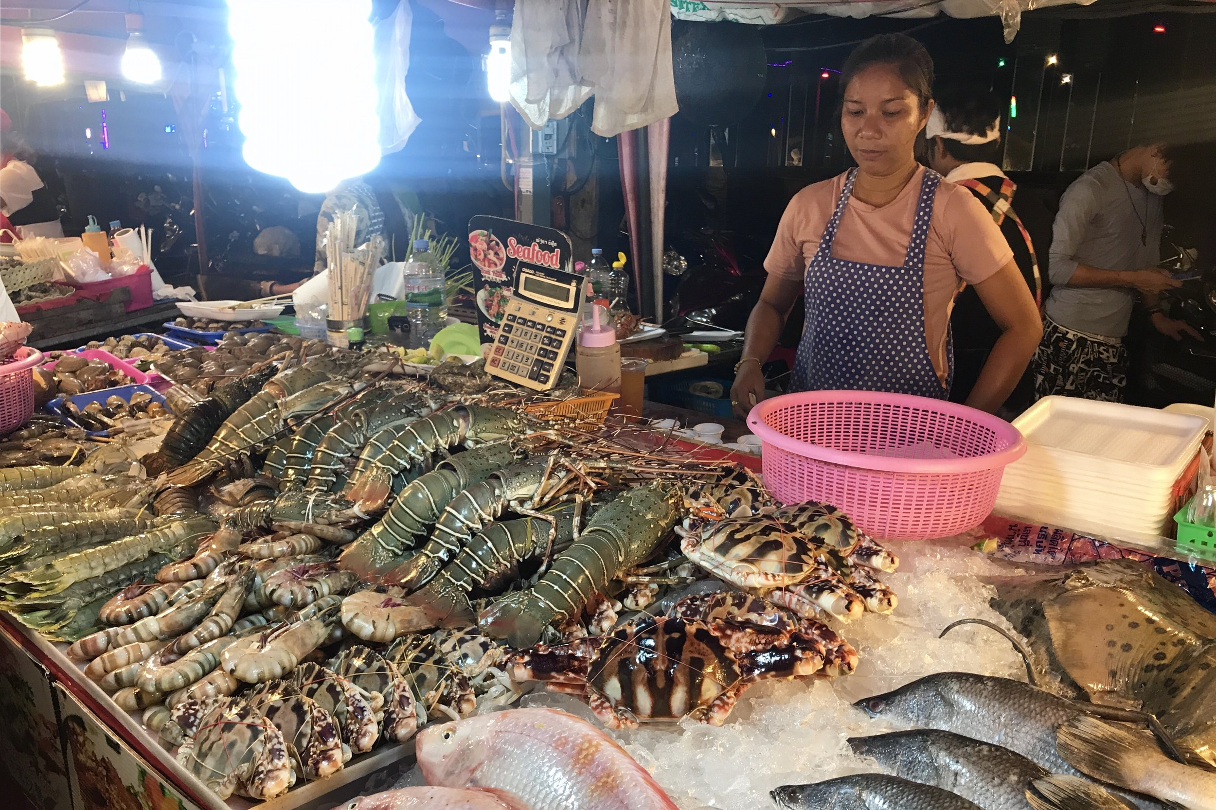 Freshly caught seafood at the street food market