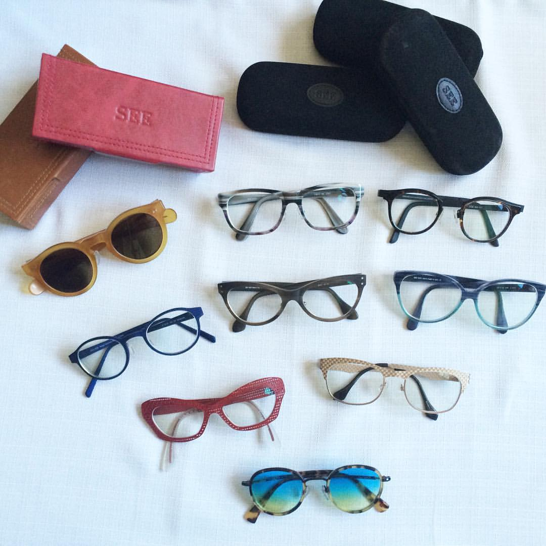 My growing collection of SEE Eyewear glasses. Like I said, a medical necessity turned fashion accessory!
