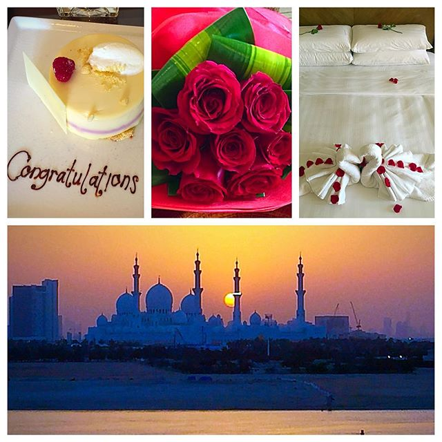Kicked off the honeymoon extravaganza in Abu Dhabi and it was perfect. Shangri La Abu Dhabi went above and beyond to make our stay special. Plus, that view!! 😍  #honeymoon #shangrila #abudhabi #uae #wedding #gettingmarried #engaged #travel #wanderlust #vacation #vacationmode #justmarried #happilyeveralter #flowers #roses #roomwithaview