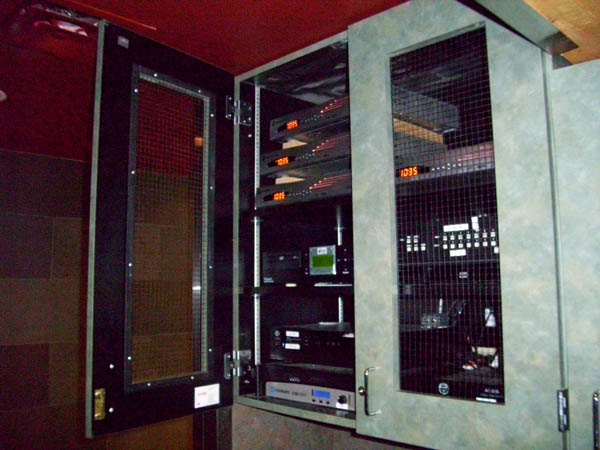 Our audio/video equipment is usually installed out of sight in industry standard racks helping protect the equipment and allowing proper ventilation.