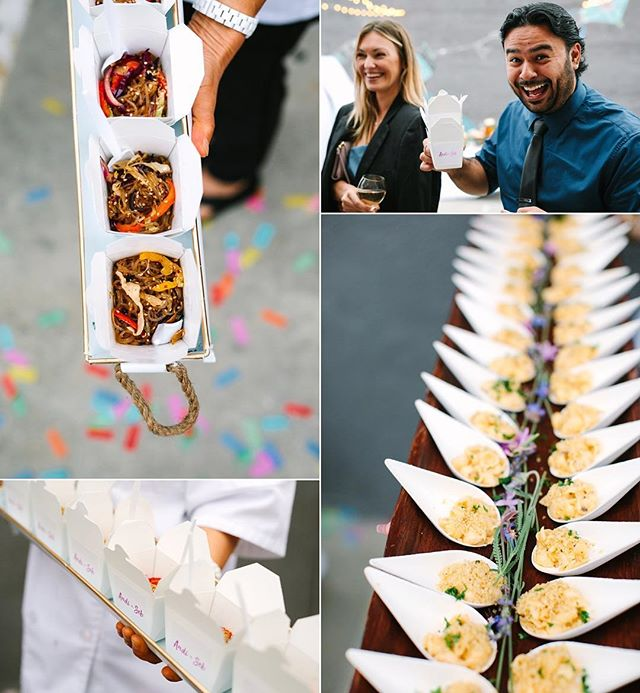 """Food was a major element for the couple, who wanted a cocktail-style party with plenty of delicious food. Says the bride: ⠀⠀⠀⠀⠀⠀⠀⠀⠀ I found Bites & Bashes on Instagram. They're a wonderful company owned and run by a mother/daughter team, Julie and Crystal Coser. We practically booked them on the spot at our tasting because their food was so flavorful and they both were so warm and sincere. ⠀⠀⠀⠀⠀⠀⠀⠀⠀ I love miniatures so I knew I wanted a bunch of teeny tiny appetisers. They serve all their food in really creative ways, which I loved and our guests noticed that special touch. Chef Julie made her famous glass noodles served in tiny take-out boxes and I got stickers with our names printed for the boxes. They were a hit! I always told myself I'd serve hot dogs at my wedding, so we served those as a late night snack. We were blown away by the amazing quality and full-flavoured food and the creativity that the Bites & Bashes provided for our party. The service was on point and all of our guests raved about our menu."" - @andicheergirl via @lovemydress with beautiful photos by @marycostaphoto. ⠀⠀⠀⠀⠀⠀⠀⠀⠀ Thank you @andicheergirl for the kind words! It was our pleasure to cater your special day! You can read more about the wedding by clicking on the link on our bio. ⠀⠀⠀⠀⠀⠀⠀⠀⠀ #catering #caterer #events #wedding #weddings #weddingplanning #eventplanning #eaterla #eater #eatfamous #dinela #infatuation #infatuationla #buzzfeast #dailyfoodfeed #instafood #weddinginspo #weddingdesign #weddingday"