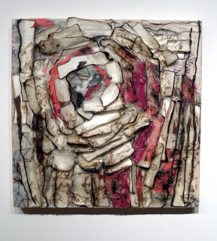 Grief Diary 2, paper and encaustic, 12 x 12 x 1 inches, 2015