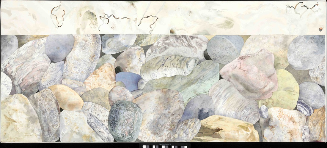 """Bottom Section Triptych """"Rocks and Sand """"2014 Watercolor on Paper 32""""x 72"""