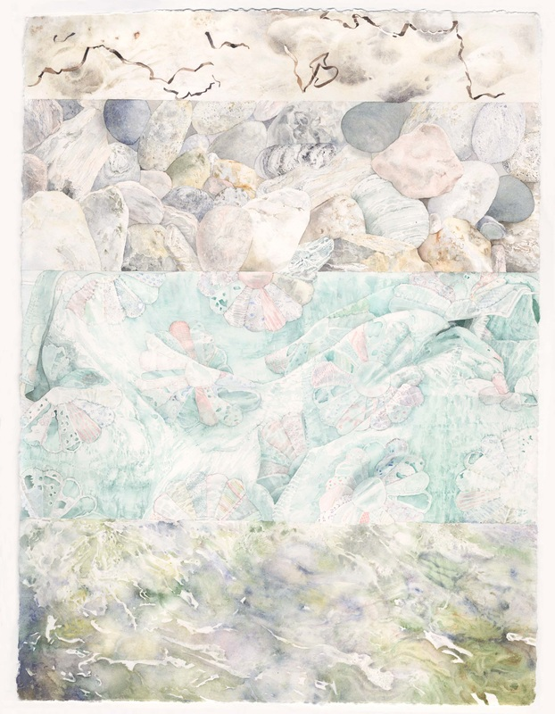 """Plan for Beach Triptych 2013 """"Water , Blanket and Sand"""" Water Color on Paper 23""""x30"""""""