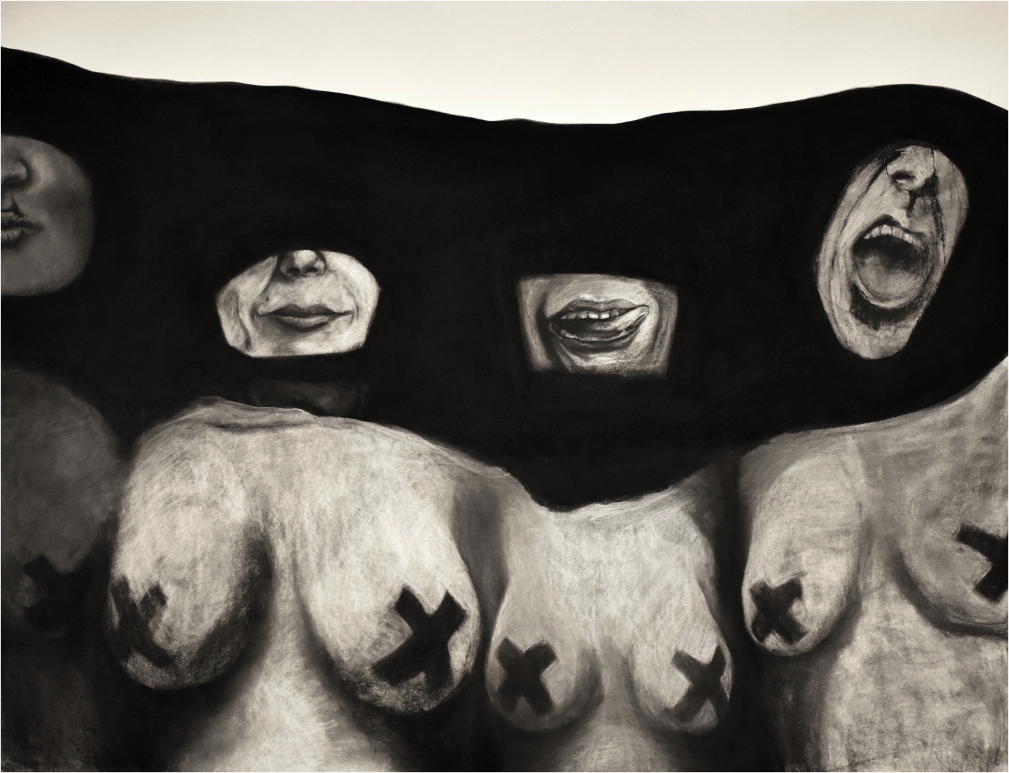 An Alice Who Screams is Not an Alice it Seems, Charcoal on Paper, 48''x36''.png