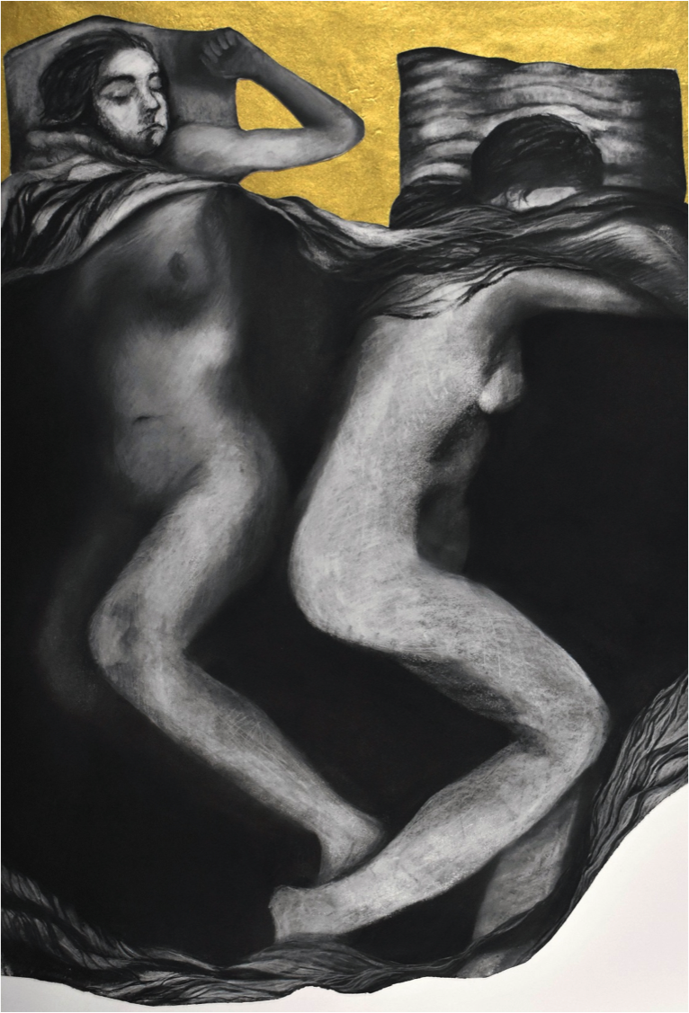 Sleeping With Alice , Charcoal and Collage on Paper, 24''x 36''.png