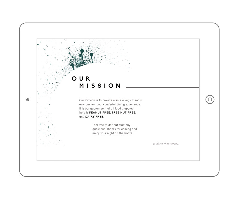 Ipad menu for ensuring allergy cross contamination precautions | Translates to vertical format