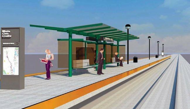 """Shelter Option 1, from SMART's """"65%"""" station design"""