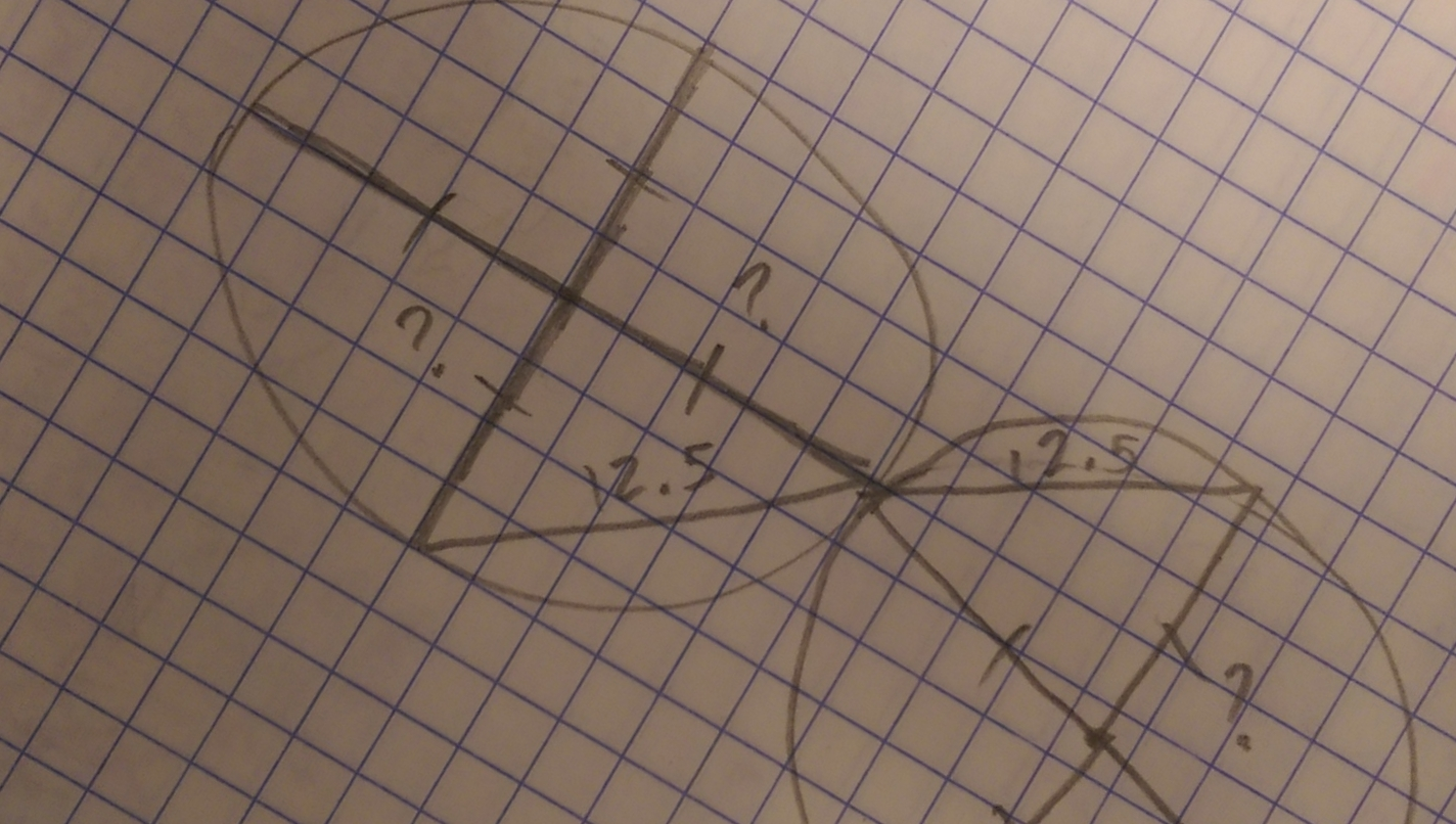 Not really the work I did, but it's the basic problem, if I remember correctly. The rest involved tangents and sine/cosine stuff. I don't remember.
