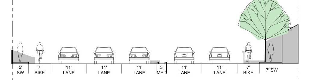 3 Lanes EB, Sidewalks