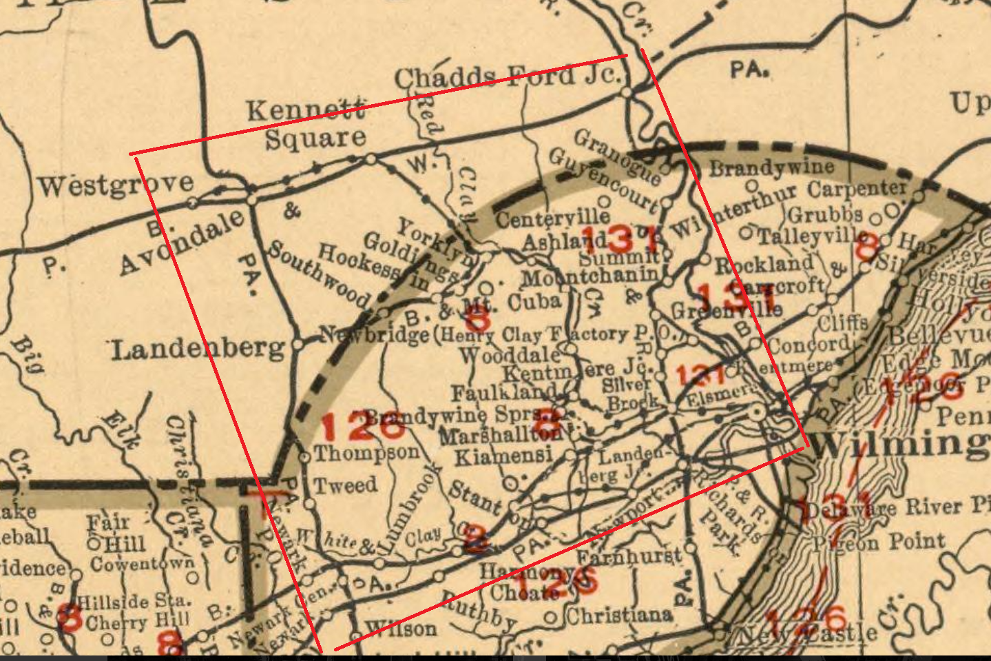Roughly the area bounded by the red box: Chadd's Ford Junction to Avondale to Newark to Wilmington. The electric lines shown here aren't listed in the Official Guide to the Railways, so they don't get to be included.
