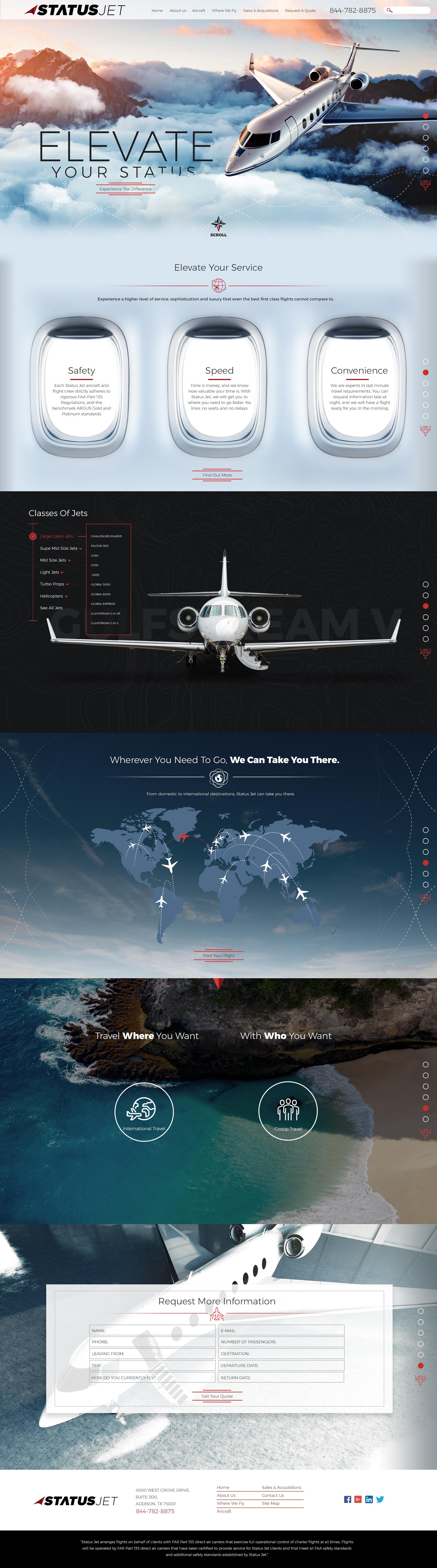 Web Design (Scorpion Internet Marketing): Status Jet-Transportation Website