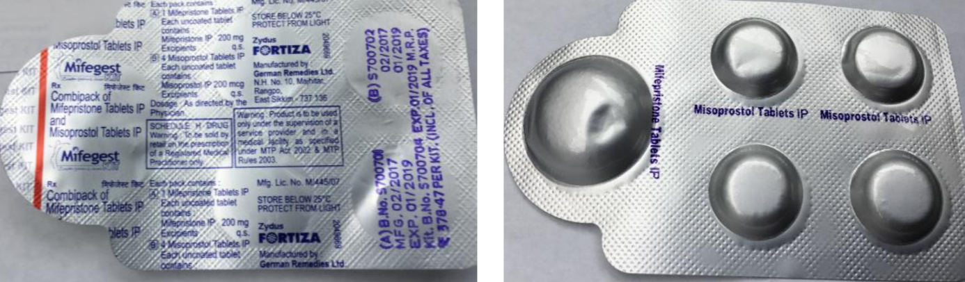 MIFEGEST KIT   Manufactured by Zydus Healthcare (Fortiza)  Contains: 1 mifepristone tablet (200 mg), 4 misoprostol tablets (200 mcg)  Quality: Acceptable