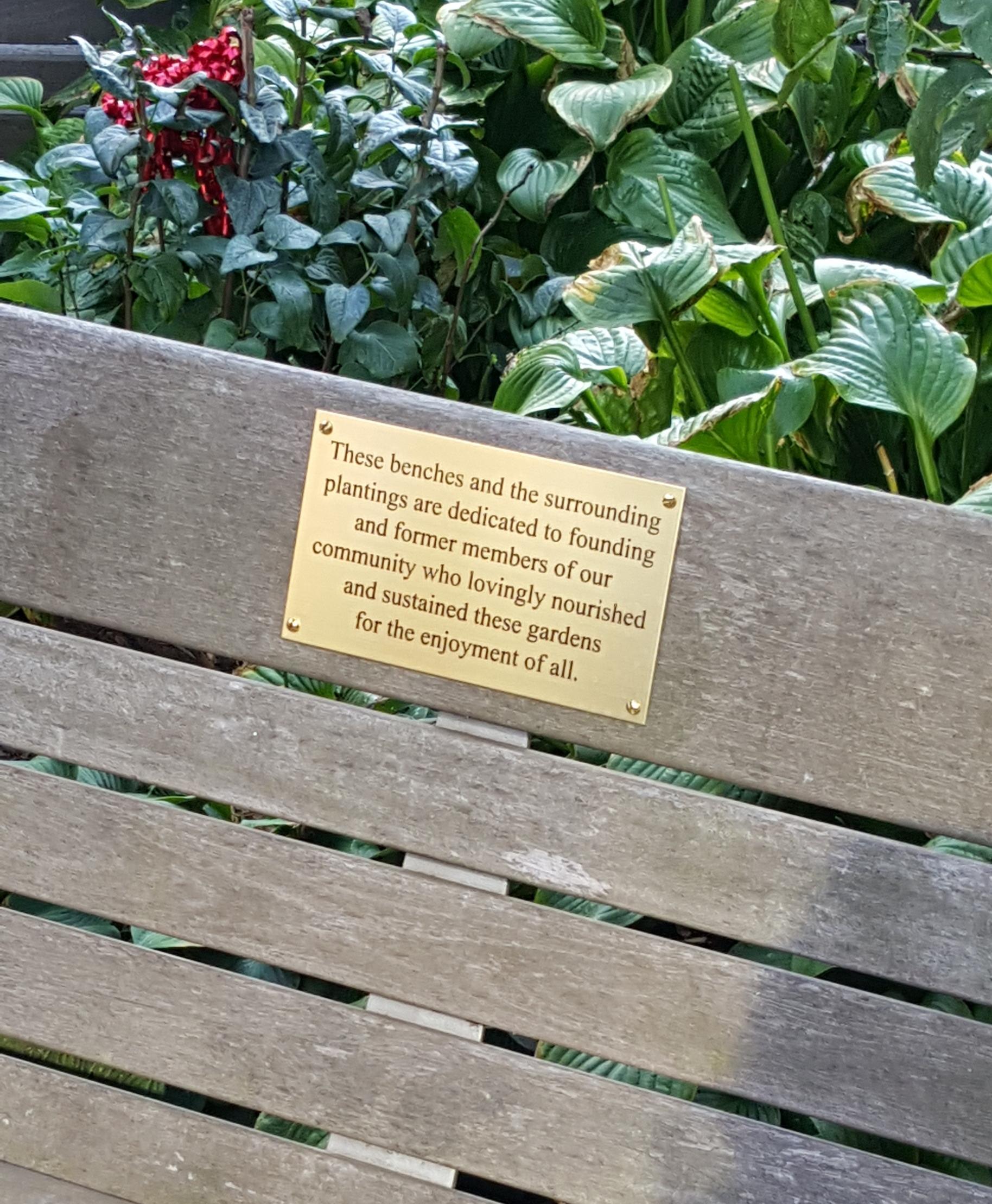 Dedication Plaque Honoring Gardeners Past and Present